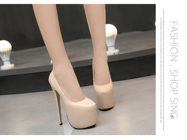 bc348f6a5f62 18cm High Heels Fashion Women Pumps Pointed Leather Sexy Lady Party ...