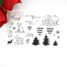 Fairy Tales small cabin cute animals Trees clear Transparent Stamp DIY Scrapbooking/Card Making/Christmas Decoration Supplies