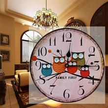 Best Deal High Quality New European Style Vintage Creative Round Wood Wall Clock Owl Wooden Design(China)