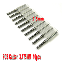 free shipping 10pcs 2.5mm PCB end mills Carbide Tools, CNC Cutting Bits, Millinging Cutters Kit for Engraving Mill Machine