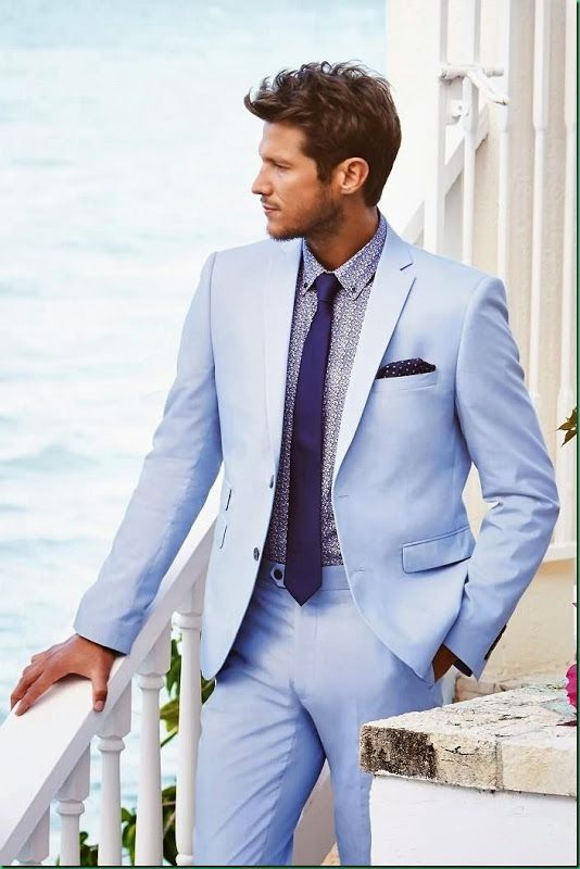 Sky Blue Men Suit Formal Slim Fit Wedding Suits For Men Custom Tuxedo Blazer Beach Men 2 Pieces  Suit MenTerno