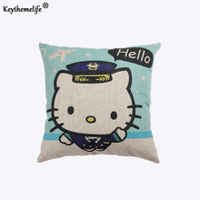 Keythemelife 45*45cm Household Pillow cover Cushion Linen Fabric Hello Kitty Home Decor Pillowcase C5