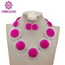 Costume African Jewelry Sets Fuchsia Pink Nigerian Wedding African Beads Jewelry Set Crystal Beads Necklace Jewelry Set AMJ092