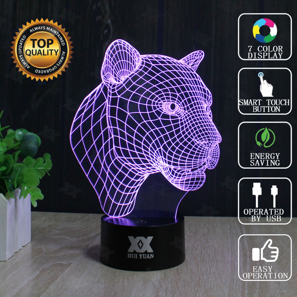 HUI YUAN Brand USB 3D Lamp Visual illusion Novelty Night Light Leopard Animals Holiday Lights Glowing Christmas Presents<br><br>Aliexpress