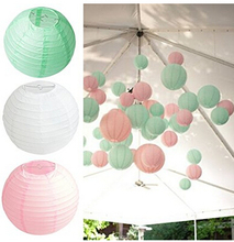 Set of 6 Mixed Pink Mint Green White Paper lantern Balls Wedding Shower Party Hanging Decoration Favour