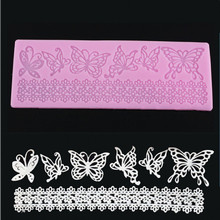 Hot sale 1 pc Silicone Lace Mold Butterfly Cake Mould Shapes Soft 3D Fondant Candy Chocolate Ice Cake Moulds