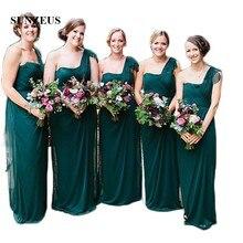 One Shoulder Chiffon Bridesmaid Dresses Pleats Straight Emerald Green  Wedding Guest Dresses Long vestido dama de 588b796709ac