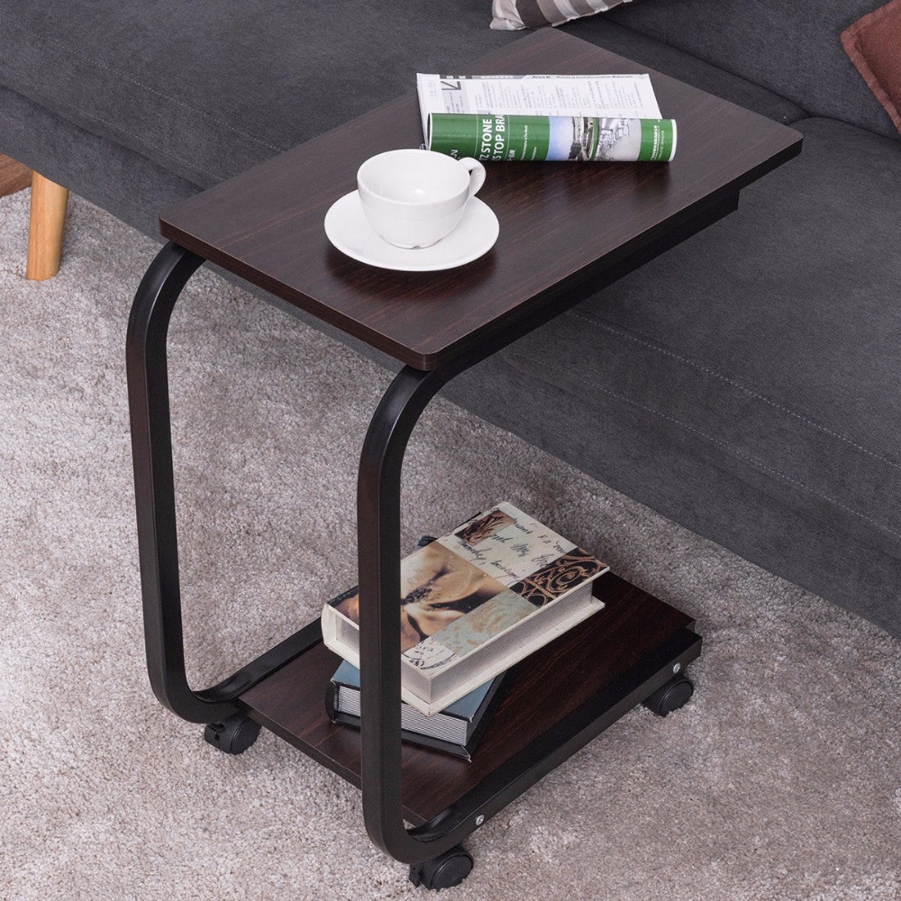 Goplus 2 Tier U-Shaped Sofa Side End Coffee Table Tray Snack Home Office Furniture with Caster Rolling Portable Tables HW56536<br>