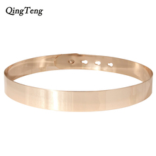 Women Punk Full Metal Mirror Skinny Waist Belt Metallic Gold Plate Wide Chains Lady Sash For Dress Skirt Ring Belt Vestido Strap(China)