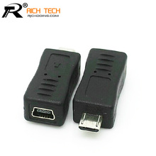 3pcs USB CONNECTOR Micro usb male plug to mini USB 5pin female jack connector tablet computer adapter electrical parts