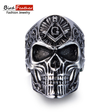 Bird Feather Stainless Steel Men Ring Masonic Skull Titanium Rings for Women Vintage Punk Fashion Jewelry Woman Wedding Ring(China)