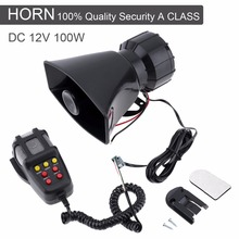 Durable plastic 100W 12V 7 Sound Car Electronic Warning Siren Motorcycle Alarm Firemen Ambulance Loudspeaker with MIC(China)