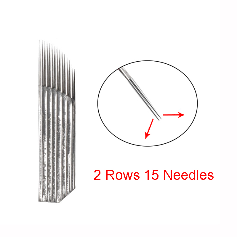20PCS Microblading Needles 15 pin 2 Rows Permanent Makeup Tatoo Blade For 3D Eyebrow Embroidery Manual Tattoo Pen Machine