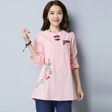 Buy Blouse Shirt Female Cotton Linen 2018 New Spring Floral Fresh Shirts O-Neck Long Sleeve Women Tops Casual Loose Ladies Clothing for $12.43 in AliExpress store