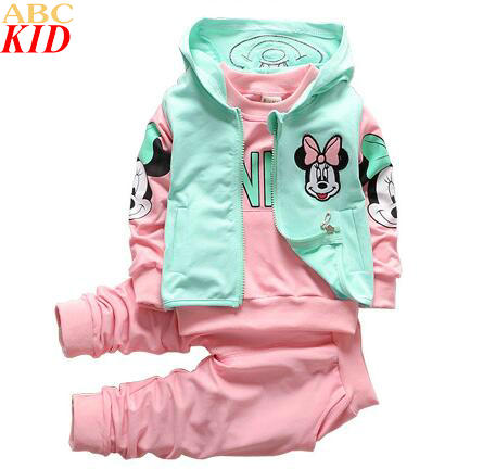 Brand Baby Girls Autumn New Minnie 3PCS Clothing Sets Girls Cotton Tracksuits Hoodies+Long Pant+Waistcoat Girls Clothing KC140<br><br>Aliexpress