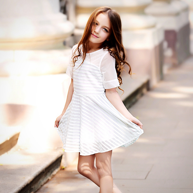Elegant Chiffon Dress Girls Stripe Dresses 2017 Spring And Summer Kids Clothes Lovely Princess Girls Dresses Holiday Party Wear<br>