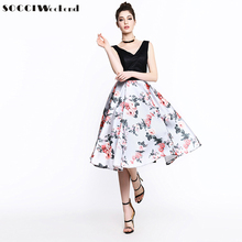 SOCCI Weekend Black Lace Printed Flowers Cocktail Dress 2017 Sleeveless Lace up Vestidos de Girls Formal Wedding Party Dresses(China)