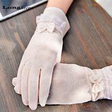 2016 Women UV Protection Summer Gloves Lace Glove Thin Sunscreen Gloves Ice Silk Lace Bow Mittens Binge Gray Pink White 072