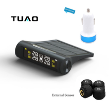 TUAO TPMS Car Tire Pressure Monitoring System Solar Energy LCD Color Display 4 External Sensor Auto Alarm System Car electronics