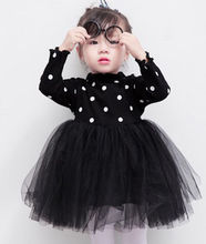 Newborn Kids Baby Girls Knitted Long Sleeve Dot Lace Tutu Dress Clothes Summer Casual Black Pink White Children Dresses(China)