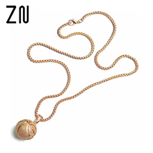 ZN European Stainless Steel Basketball Pendant Necklace(China)