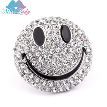 Miss Lady New Arrivals 2017 Men Women Jewelry Silver color Crystal Smiling Face Brooch Pins Best Gift MLY6345(China)