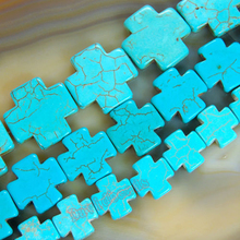"Fctory Price 15MM 20MM 25MM Turquoises Howlite Cross Beads 16"" Strand Pick Size For Jewelry Making diy"
