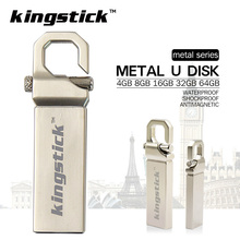 Kingstick U disk Stainless usb flash drive with hook pen drive 4GB 8GB 16GB 32GB 64GB Memory Stick Thumb pendrive memory stick(China)