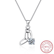 Authentic 925 Sterling Silver Fine Jewelry Pendant Necklace Skate Collar Women Wedding Party Gift 18inch Ribbon Jewels N0022