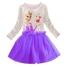 New Summer Snow Queen Elsa Kids Girls Clothing Long sleeve Cotton Dress baby kids tutu princess girls dresses 3-10Y(China)