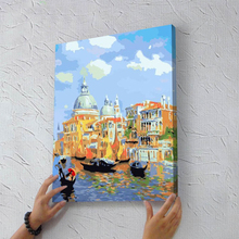 2016 DIY Oil Painting By Numbers with Frame Painting On Canvas Home Decoration Room Decor 40x50cm Water Castle European Cuadros