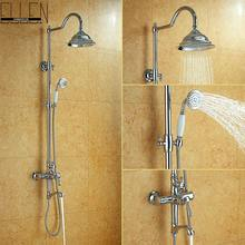Bathroom Rain Shower Set Wall Mount Shower Faucet Mixer Tap w/ Rain Shower Head & Handheld Shower Chrome Finished ML8503