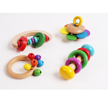 4PCS/set Wooden Bell Rattle Toy Baby Handbell Musical Educational Instrument Rattles(China)