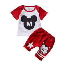 2017 New Boys Children Clothing Sets Short Sleeve Mickey Face T-shirt + Pants Two-piece Baby Boys Summer Sport Clothing Sets(China)