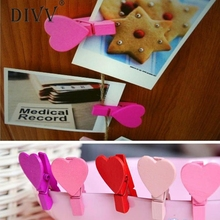 12pcs/Pack Mini Heart Love Wooden Clothes Photo Paper Peg Pin Clothespin Craft Postcard Clips Home wedding Decoration feb14