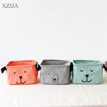 XZJJA Square Bear Cotton Linen Sundries Toys Storage Box Baskets Foldable Dresser Desktop Makeup Organizer Stationery Container(China)