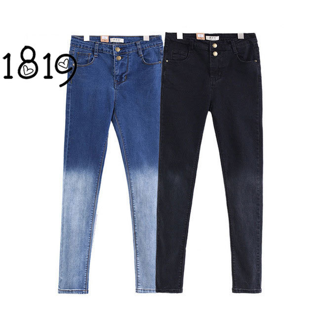 2017 Hot Sale Spring Gradient Pencil Jeans High Waist Slim Stretch Skinny Women Long Black Denim Pants For Summer Одежда и ак�е��уары<br><br><br>Aliexpress