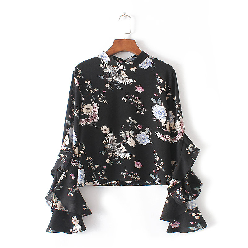 Spring Fashion Long Sleeve Stand Collar Blouses Cranes Floral Print Ruffle European style fashion ladies tops(China (Mainland))