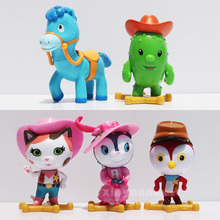 5pcs/lot Movie Sheriff Callie's Wild West Cowboy Callie Cat/Horse/Woodpecker/Cactus Tree Action Figure Toys Birthday Party Gifts