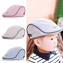 M89CStripe Beret Cap Cute Baby Kids Infant Boy GirlPeaked Baseball Hat Casquette Pink/Coffee/Light Blue