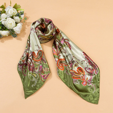 New Arrival Womens Head Scarves Soft Silk Feel Satin Square Scarf Green Red Shawl