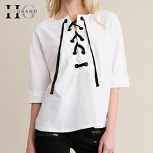 HEE GRAND 2017 New Fashion Women Lace Up T-shirts Sexy Hollow Out Woman Tops Plus Size S-2XL Solid White Basic Top WTL1270