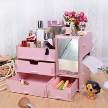 New Arrival 1Pcs Lovely Wooden Oversized Storage Box Dressing Table Mirror Surface DIY Tray 10 colors available