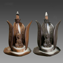 T Creative Smoke Backflow Incense Burner Guanyin Lotus Flower Out Ceramic Tower Cone incenses Censer Home decoration