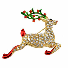 Running Santa Claus's Reindeer Costume Brooch Luxury Shine Rhinestone Christmas Brooches Collar Clip Women Accessories