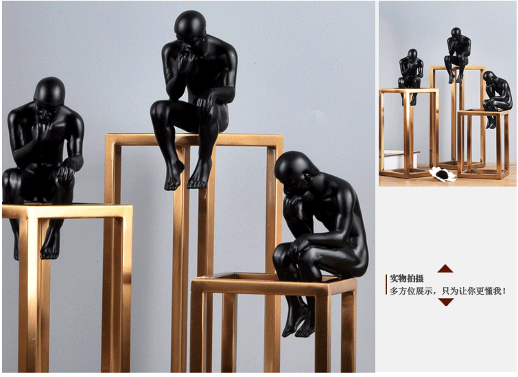 Thinking of Rodin Sculpture Postmodern Thinker Small Black Metal Stainless Steel Frame Home Decoration Room Figure Adornment 13