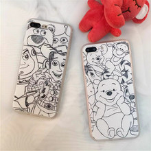 NEW Hot Sketch Cute Pooh Phone Cases Fundas for Apple iPhone 7 6 6S Plus 5 5S SE Hard Back Cover Coque