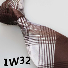 2017 Latest Style Designer Tie White/Brown Grid Striped Design Men's Designer Ties&Party Dresses&Brand Ties&Gentlemen Neckties