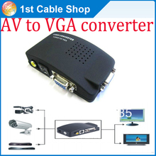 VGA+composite AV RCA to VGA converter AV in and VGA out for PC monitors LCD TV with power supply by USB DC cable