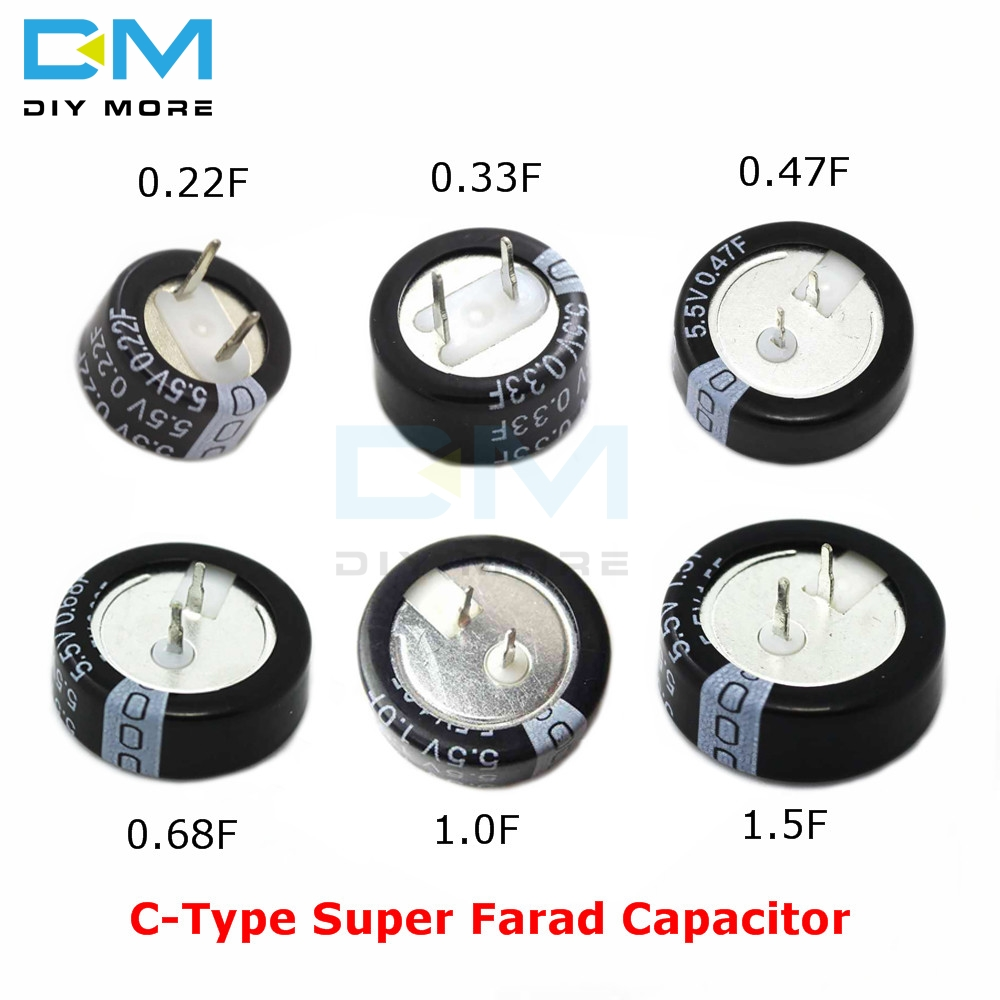 5PCS 5.5V-1F Farad Capacitor Button Style H Type Super Cylindrical Capacitor